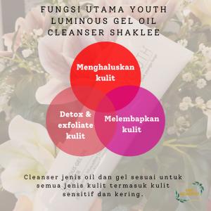FUNGSI UTAMA YOUTH Luminous Gel Oil Cleanser Shaklee